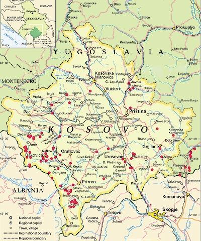 Endroits où on a utilisé des munitions à UA au Kosovo