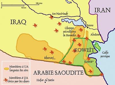 Endroits où on a utilisé des munitions à UA lors de la guerre du Golfe