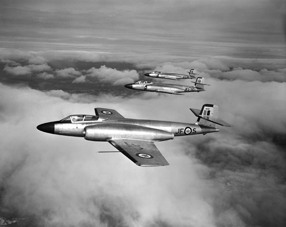 Avro CF-100 Canuck interceptors on patrol.