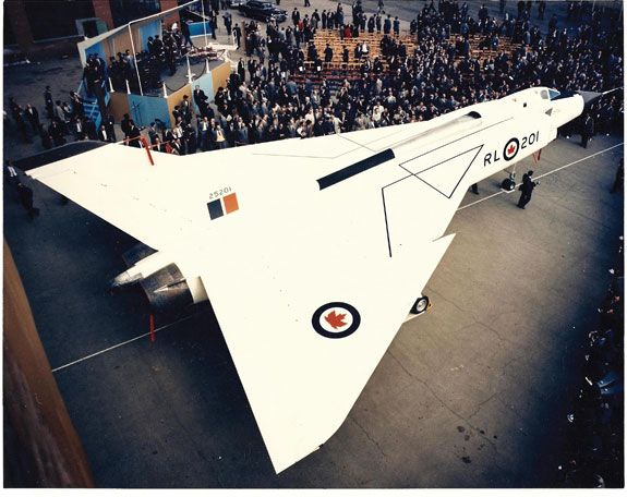The CF-105 Avro Arrow at roll-out, 4 October 1957, Malton, Ontario.