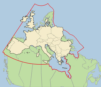 Map Of Canada And Europe.Valour