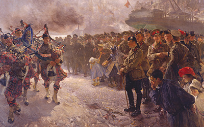 Landing of the First Canadian Division at Saint-Nazaire by Edgar Bundy Rutherford (Canadian War Museum 19710261-0110)